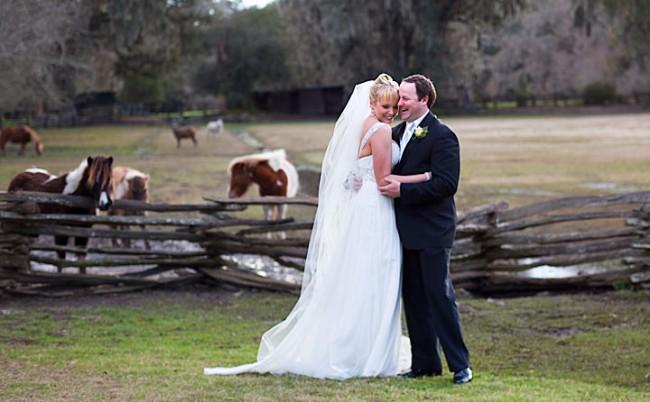wedding portrait with ponies