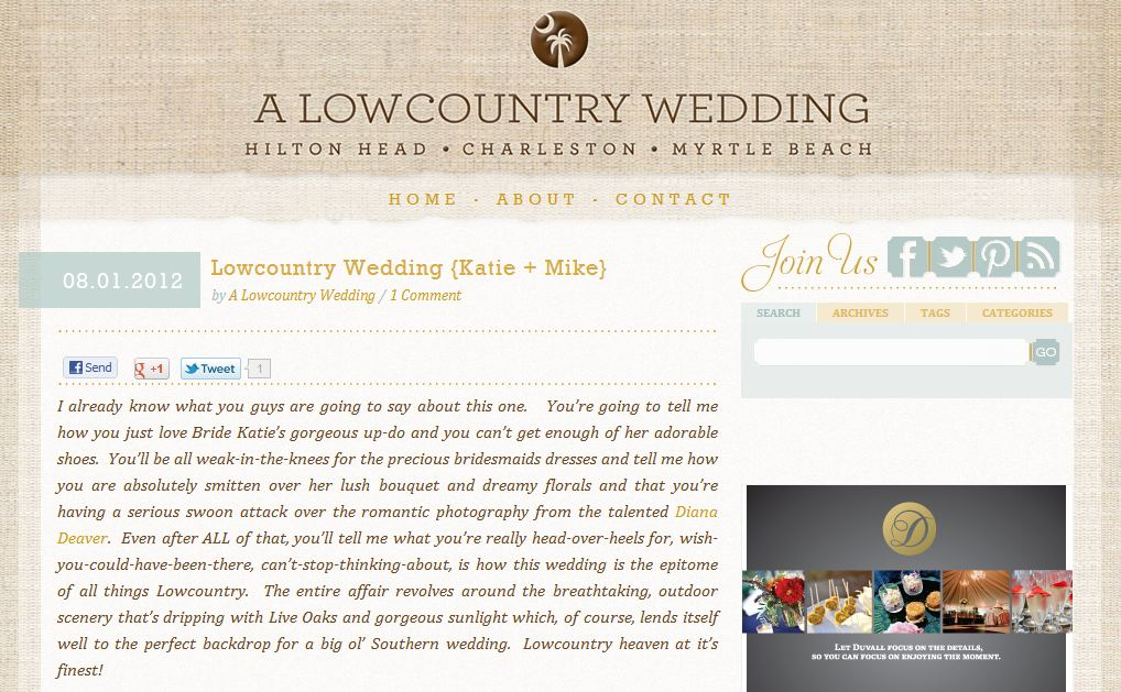 Diana Deaver Wedding Photographer featured on lowcountry wedding