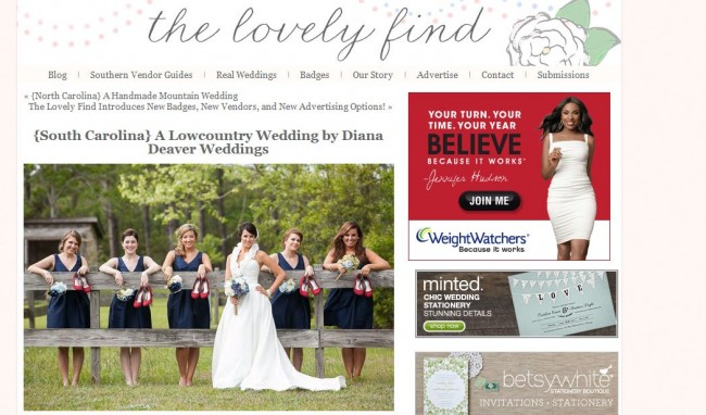 Diana Deaver Wedding Photographer featured on the lovely find