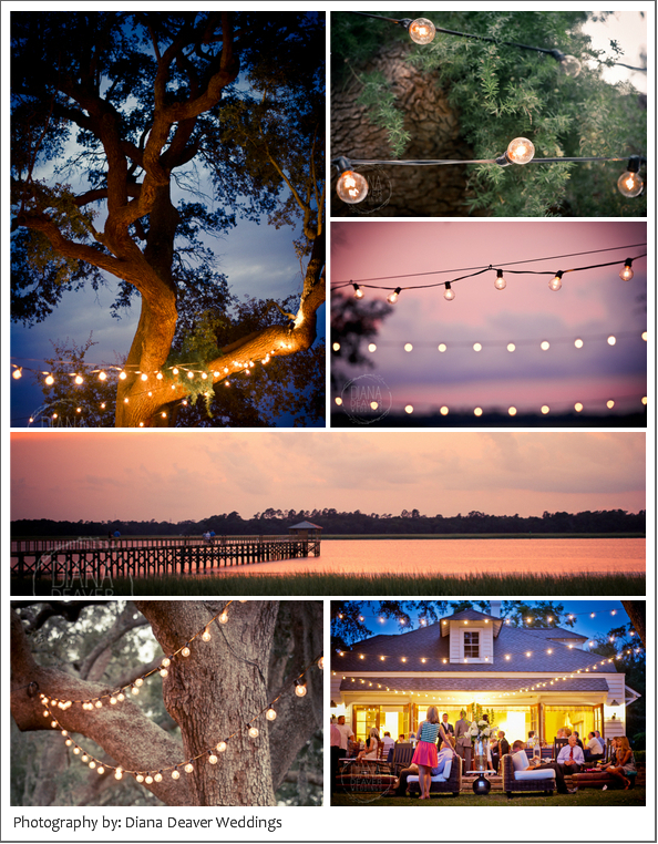Lowndes Grove Charleston Wedding Rehearsal Dinner Photography Lights