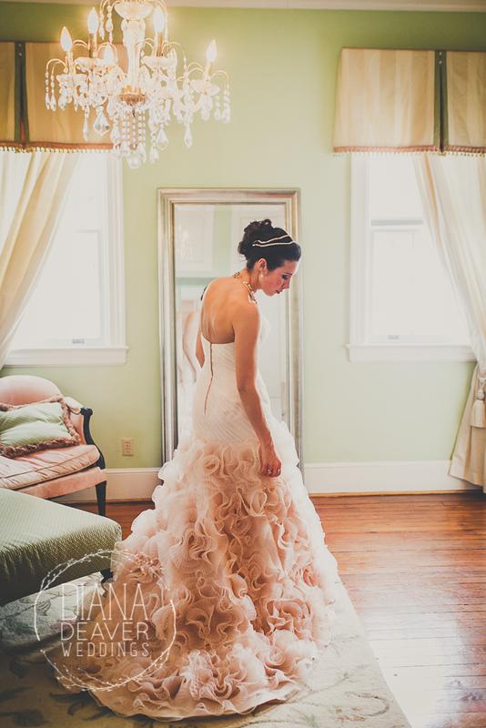 pink wedding dress bridal portrait