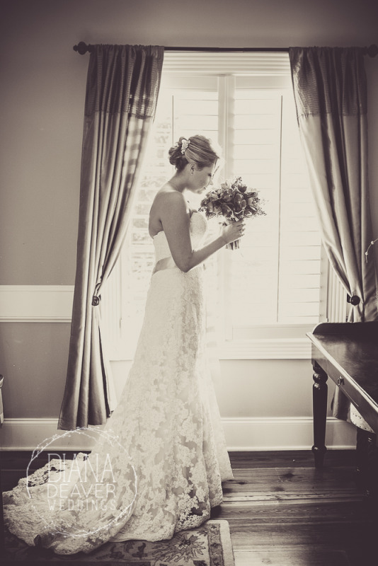 lace wedding dress Window Bridal Portrait at The Inn at I'ON