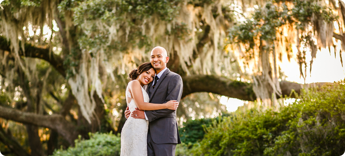 bride and groom portrait at middleton plantation