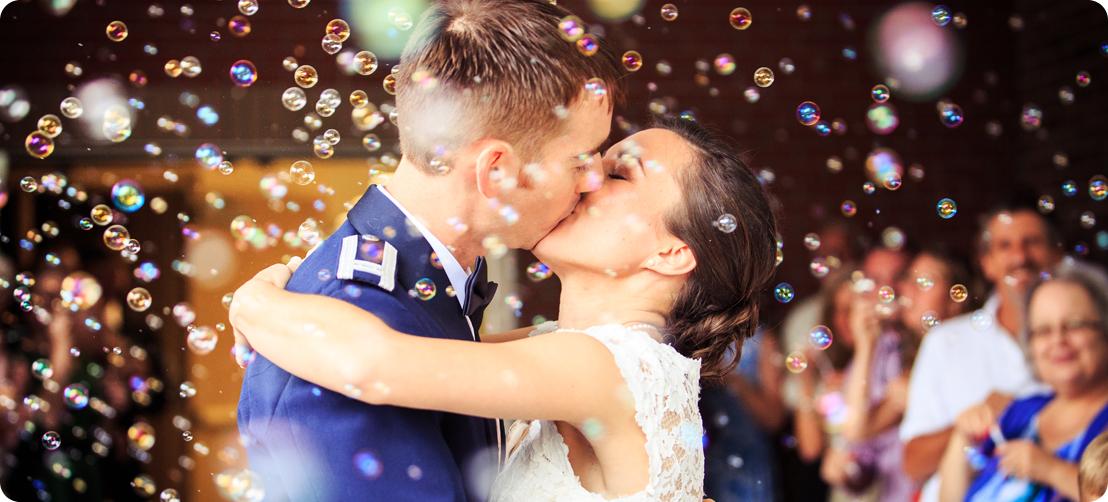 bubbles send off wedding moment