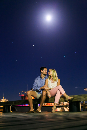 night time engagement session photos in Charleston SC photographed by Diana Deaver Weddings