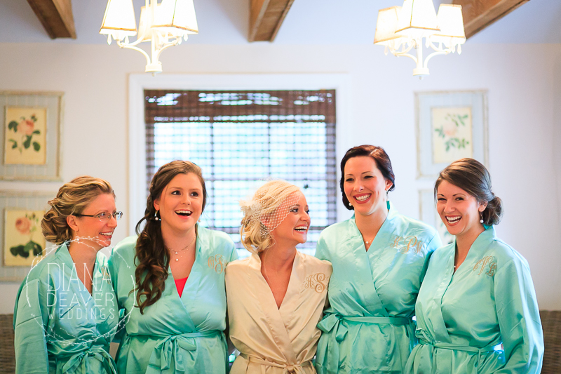 bride and bridesmaids casual moments
